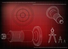 modelo 3d de uma roda denteada em um vermelho ilustração do vetor