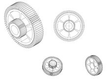 modelo 3d de una rueda dentada en un blanco foto de archivo