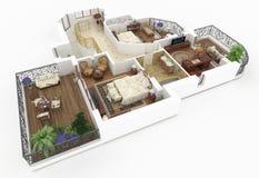 modelo 3d do apartamento home fornecido Imagens de Stock