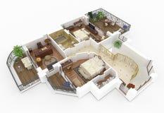 modelo 3d do apartamento home fornecido Fotografia de Stock