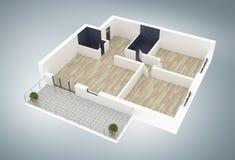 modelo 3d do apartamento home vazio Fotografia de Stock