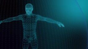 modelo 3d do modelo geométrico do homem das linhas luminosas azuis video estoque