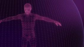 modelo 3d do modelo geométrico do homem de linhas luminosas rosa vídeos de arquivo