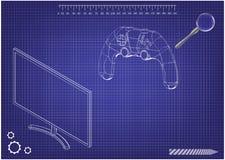 modelo 3d do manche e do monitor em um azul imagens de stock