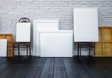 Modelo 3d interior pinturas em cadeiras no estúdio Imagem de Stock Royalty Free