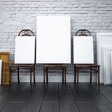 Modelo 3d interior pinturas em cadeiras no estúdio Imagens de Stock Royalty Free