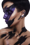 Modelo da beleza da forma com composição da camuflagem da arte Imagem de Stock Royalty Free