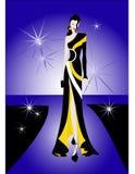 Modelo da beleza no desfile de moda Fotografia de Stock Royalty Free