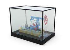 Modelo da bomba de óleo em uma caixa de vidro ilustração royalty free