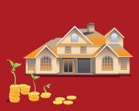 Modelo da casa com ilustração das moedas Conceito 6 dos bens imobiliários Fotografia de Stock Royalty Free