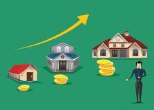 Modelo da casa com ilustração das moedas Fundo do vetor do conceito de Real Estate Imagem de Stock