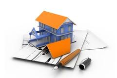 Modelo da casa em uma planta Fotografia de Stock Royalty Free
