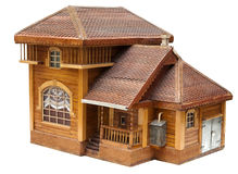 Modelo da casa feita da madeira Fotos de Stock
