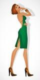 Modelo da menina do ruivo no vestido verde Fotos de Stock Royalty Free