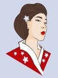 Modelo da mulher no quimono vermelho de Japão Fotos de Stock