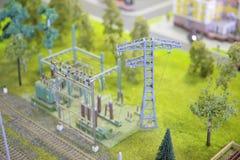Modelo da subestação elétrica fotos de stock