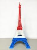 Modelo da torre Eiffel com a listra azul branca vermelha Imagem de Stock Royalty Free