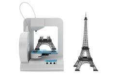 modelo da torre Eiffel da construção da impressora 3d Fotos de Stock Royalty Free
