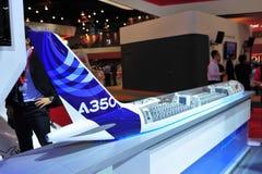 Modelo de Airbus A350-900 XWB na exposição em Singapura Airshow Imagem de Stock