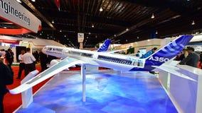 Modelo de Airbus A350-900 XWB na exposição em Singapura Airshow Imagens de Stock Royalty Free