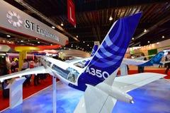 Modelo de Airbus A350-900 XWB na exposição em Singapura Airshow Foto de Stock