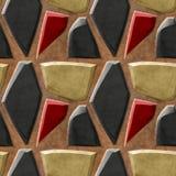 Modelo de alivio inconsútil abstracto del negro, del oro y de las piedras agudas rojas libre illustration