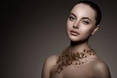 Modelo de alta-costura Girl Estilo P de Vogue da alta-costura da mulher da beleza imagem de stock