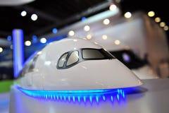 Modelo de aviões de passageiro de Airbus A350-900 XWB na exposição em Singapura Airshow Fotos de Stock Royalty Free