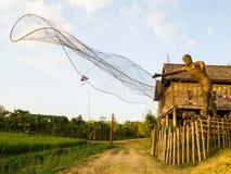 Modelo de bambú de la armadura del pescador tailandés Fotos de archivo libres de regalías