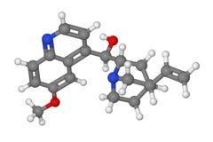 Modelo de bola y de palillo de la molécula de la quinina Imagen de archivo