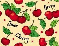 Modelo de cerezas rojas con las hojas verdes Imagen de archivo libre de regalías