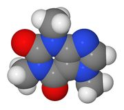 Modelo de compilación de la molécula del cafeína Foto de archivo libre de regalías