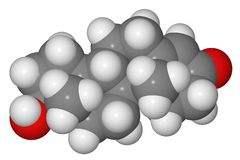Modelo de compilación de la molécula de la testosterona Fotografía de archivo libre de regalías