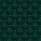 Modelo de cuero abotonado verde inconsútil del vector Tapicería o paredes Fotografía de archivo libre de regalías
