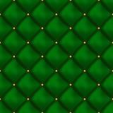 Modelo de cuero abotonado verde inconsútil del vector Tapicería o paredes Imágenes de archivo libres de regalías
