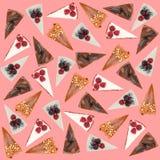 Modelo de diversas empanadas aisladas sobre rosa Foto de archivo