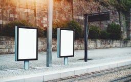 Modelo de dois quadros de avisos em ajustes urbanos Fotos de Stock Royalty Free