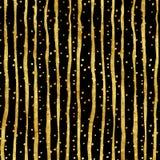 Modelo de Dots Faux Foil Metallic Stripes del oro Fotografía de archivo