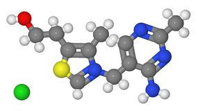 Modelo de esfera e de vara da molécula do thiamine ilustração royalty free