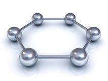 modelo de estructura molecular hexagonal 3d Imágenes de archivo libres de regalías
