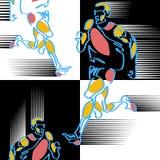 Modelo de figuras silized a mano de atletas ilustración del vector