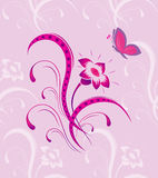 Modelo de flor con la mariposa un inconsútil libre illustration