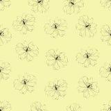 Modelo de flor inconsútil en fondo amarillo Imagen de archivo libre de regalías