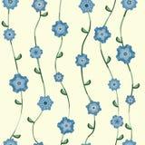 Modelo de flores azul con el tallo y las hojas stock de ilustración