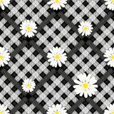 Modelo de flores blanco y negro de la tela escocesa y de la margarita de tartán en el fondo a cuadros para la materia textil ilustración del vector