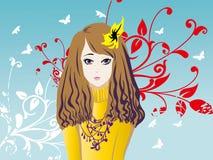 Modelo de flores de la muchacha Foto de archivo libre de regalías