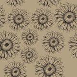 Modelo de flores inconsútil del gerbera en el fondo marrón stock de ilustración