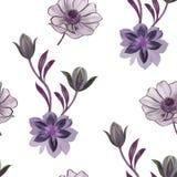 Modelo de flores incons?til de la acuarela Flores pintadas a mano en un fondo blanco Flores para el dise?o Flores del ornamento B ilustración del vector
