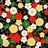 Modelo de flores japonés del vintage en fondo negro Imagenes de archivo