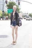 Modelo de forma após um desfile de moda em New York Fotografia de Stock Royalty Free